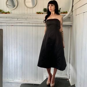 BCBG strapless black midi dress